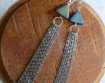 Chain Earrings- Dark Amethyst