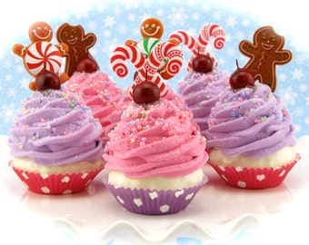 Gingerbread and Candy Cane Fake Cupcake Ornaments Set of 6 Mini Cupcakes Hostess Gift, Holiday Decor or Stocking Stuffer