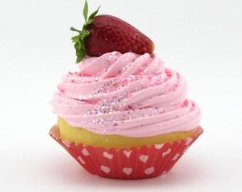 Strawberry Shortcake Fake Cupcake Photography Prop Home Decor Home Staging Decor Bakery Decor