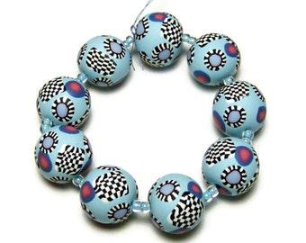 "Handmade Beads Polymer Clay Set of Nine Round Light Blue Black White Fuchsia Canework Inlays 1/2"" 13 mm Jewelry Supplies"