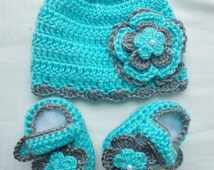Baby Infant Girl Crochet Hat Beanie Booties Baby Shower Gift Photo Prop 10027 MADE TO ORDER