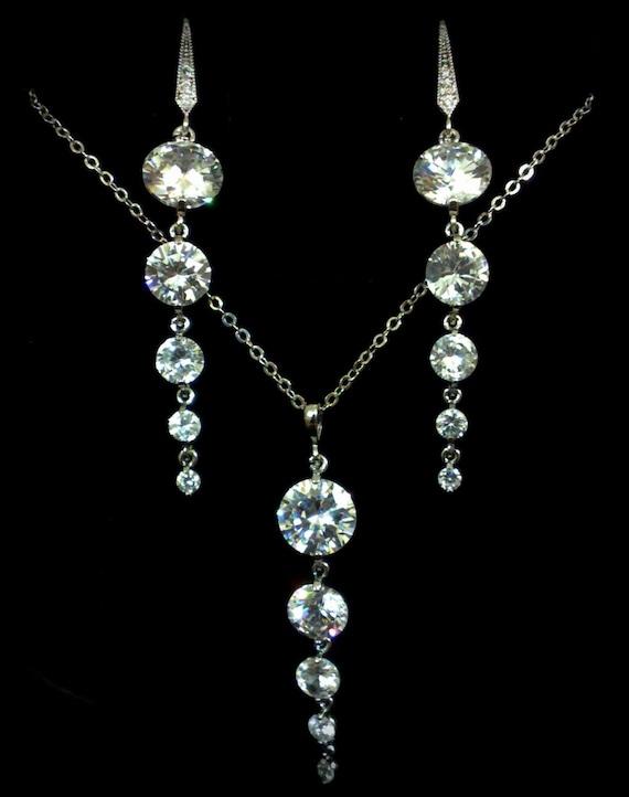 Cz Bridal Jewelry Set, Geometric Bridal Necklace, Dangle Bridal Earrings, Bridesmaids Jewelry, Round Wedding Jewelry, Bridesmaid Gift, GRACE