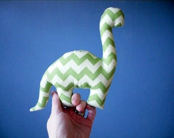 small stuffed dinosaur - green tonal chevron
