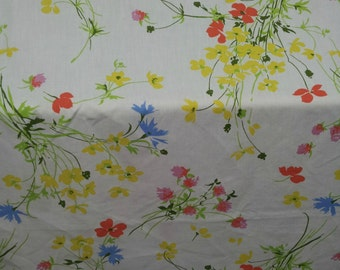 Twin Fitted Sheets Wildflowers, Set of Sheets, Two Twin Sheets, Red Yellow Blue Sheets, Reclaimed Fabric,