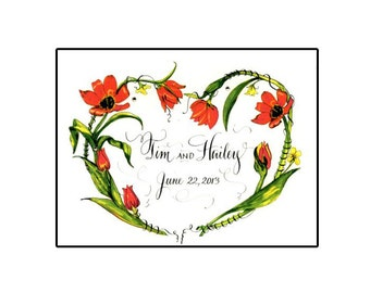 Handmade heart shaped Tulips  Wedding Card with Calligraphy