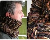 Men's cowl scarf neckwarmer, knit winter stretch, brown gray tan rust plum green crochet, women's hood, wide headband dread head wrap i348