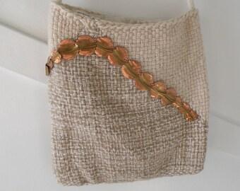 Crossbody handbag tote, iPad case, notebook sleeve, purse 14 x 14 laptop bohemian bag, beige shoulder bag strap off-white handwoven