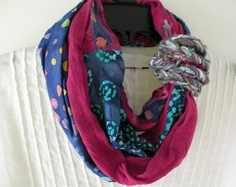 Women's scarf, crochet woven long boho wearable art multicolor fashion, magenta pink purple teal blue green batik Bohemian indie Lhasa i995