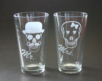 Mr Mrs His and Hers Etched Glasses Mustache Engraved Beer Pints Weddings Mr Skull Mrs Skull