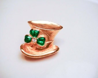 Avon Leprechaun Hat with Shamrock Brooch Pin Vintage Antique