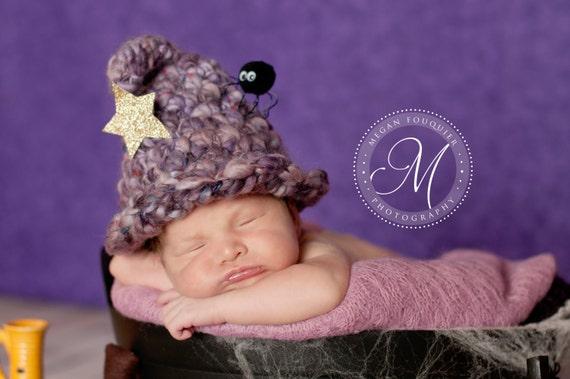 Witch Hat .. Newborn Photo Prop ... Newborn Halloween Hat ... Newborn Witch Hat ... Costume ... Hocus Pocus NEWBORN size