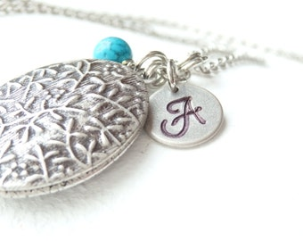 Vintage Style Oval Locket and Monogram Long Necklace