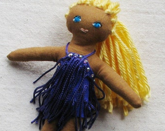 Latin dancer doll, collectible soft cloth doll, latin dancer in purple fringe dress with rhinestones, 6""