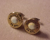 Bullet Earrings 38 Special Brass Shell Chalk White AB Swarovski Crystal - Free Shipping to USA
