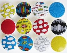 Comic Book Knobs, Superhero Knobs, Boy's Superhero Knobs- Wood Knobs- 1 1/2 Inches - Made-to-Order
