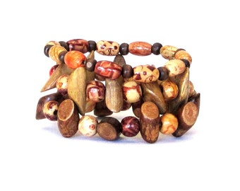 Rustic Country Chic Stretch Stacking Bracelets with Wood Log Beads Set of 3 brown beige tan orange boho