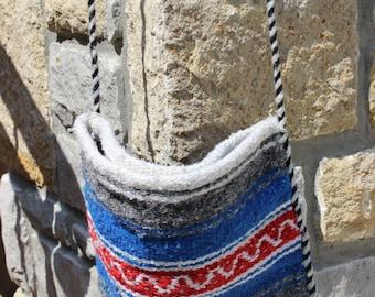 Vintage Serape Mexican Festival Bag Cross Body Purse