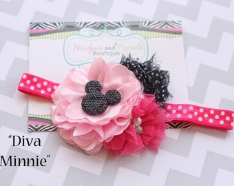 Minnie Mouse headband { Diva Minnie } black, pink, hot pink shabby Flower polka dot, Headband first Birthday, cake smash photography prop