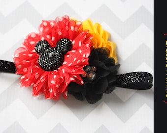 Minnie baby headband { Classic Minnie } Red, black and yellow, shabby Flower Headband first Birthday, cake smash photography prop