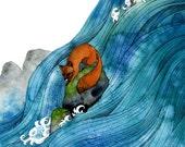 High Ground - 11x14 print - Flood Fauna series