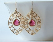 Ruby Garnet Crystal Drop Earrings