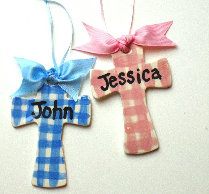 Baptism Ornament Cross Ornament Girl Baptism By: Baby Name Cross Ornament Baptism Gift Idea Handmade Pottery
