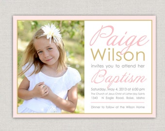 LDS Baptism Invitation - Paige