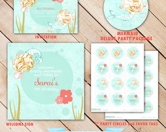 Deluxe MERMAID Collection...Custom Printable Party Package...Personalized...by KM Thomas Designs