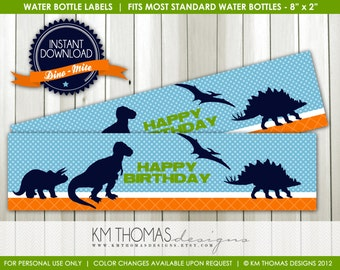 INSTANT DOWNLOAD - Dino-mite: Water Bottle Labels - Item 157