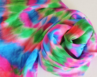 Infinity Scarf - Hand Painted Circle Scarves Royal Sapphire Blue Magenta Pink Salmon Coral Emerald Green Rainbow Bright