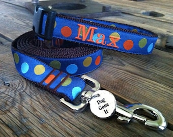 """Med or Lg Personalized Dog Collar Any Pattern, Name Color, and 1"""" Width Size. Dog Gone It. Embroidered Dog Collar."""