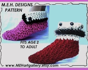slippers, CROCHET PATTERN 241A... Cuffed House Slippers, sizes age 2 to Adult, instant digital download