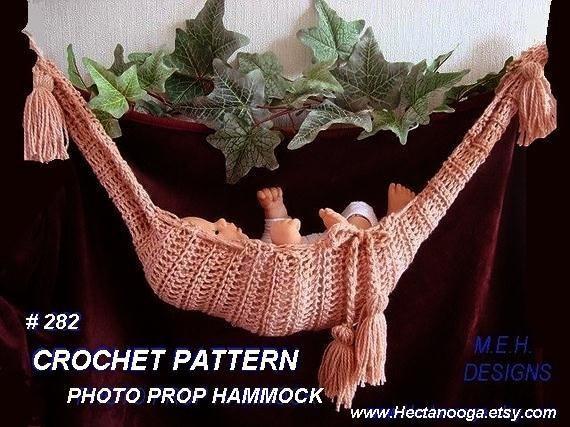 Crochet Pattern For Baby Hammock : CROCHET PATTERN.282.. Baby Hammock Photo Prop for a by ...