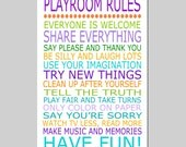 Playroom Rules - 11x17 Quote Print - Modern Nursery Childrens Decor - Kids Wall Art - Nursery Decor - Nursery Wall Art - CHOOSE YOUR COLORS