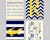 Alligator Boy Nursery Art - Playroom Rules, Chevron Initial, Stripe Alligator, Alphabet - Set of Four 11x14 Prints - CHOOSE YOUR COLORS