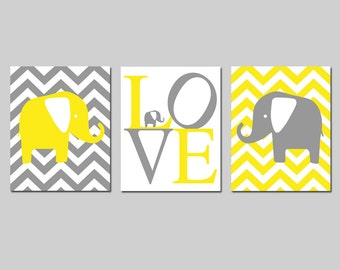 Chevron Elephant Nursery Decor Elephants Nursery Art Trio - Set of 3 Prints - CHOOSE YOUR COLORS - Shown in Lemon Yellow and Gray