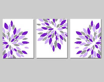 Purple Nursery Art Flowers Modern Abstract Painterly Floral - Set of Three 8x10 Art Prints - Home Decor - CHOOSE YOUR COLORS
