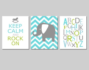 Elephant Nursery Art Trio - Set of Three 8x10 Prints - Chevron Elephant, Keep Calm and Rock On Quote, Modern Alphabet - CHOOSE YOUR COLORS