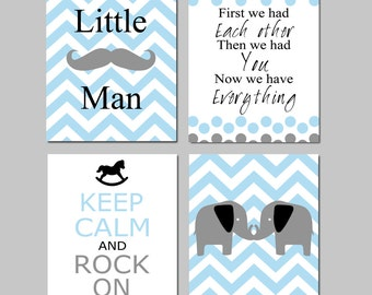 Baby Boy Nursery Art - Little Man Mustache, First We Had Each Other Quote, Keep Calm and Rock On, Chevron Elephant - Set of Four 8x10 Prints