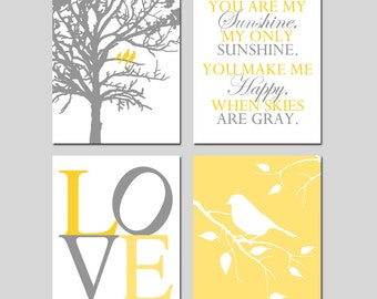 Yellow Grey Gray Nursery Art Neutral Nursery Decor - Birds in a Tree, You Are My Sunshine, LOVE, Bird on a Branch - Set of 4 Prints