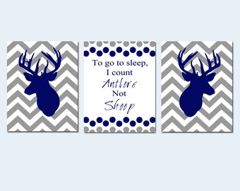 Baby Boy Nursery Art Trio - Set of Three 11x14 Prints - To Go To Sleep, I Count Antlers Not Sheep Quote, Chevron Deer - CHOOSE YOUR COLORS