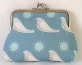 Large Coin Purse Song Bird in Dove Blue