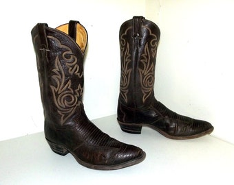 Dark Chestnut Brown Lizard and Leather cowboy boots  - Justin brand size 11.5 D with wingtips