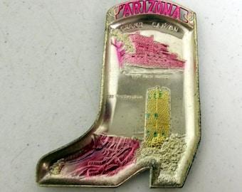Cowboy Boot Arizona souvenir ashtray  - silver and pink