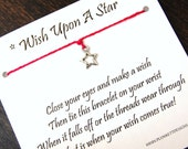 Wish Upon A Star - Open Star Charm - Wish Bracelet - Shown In WATERMELON - Over 100 Different Colors Are Also Available