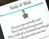 Make A Wish - Fancy Star Charm - Wish Bracelet - Shown In TEAL - Over 100 Different Colors Are Also Available