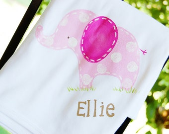 personalized baby blanket with pink and gray polka dot elephant