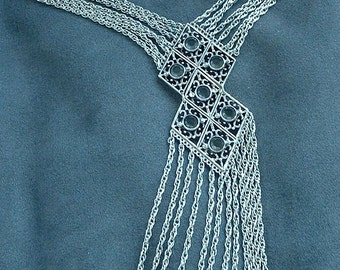 Vintage Goldette Egyptian Revival Fringe Runway Necklace