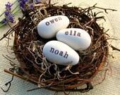 three egg bird nest :  clay eggs / family nest / cake topper/ eggs in nest / wedding / woodland / waldorf inspired