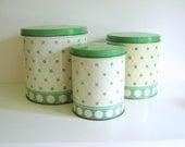 Vintage Kitchen Canister Set Jadite Green Polka Dots - RollingHillsVintage